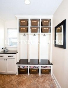Mudroom idea leave the baskets showing they always make  area look rich and neat like it   been decorated completed also for home pinterest mud rooms sinks rh