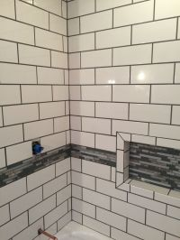 Snow White tile from Home Depot with pewter grout ...