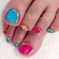 Pink-Blue-Gold Rhinestones Toe nail art   TOE NAIL ART ...