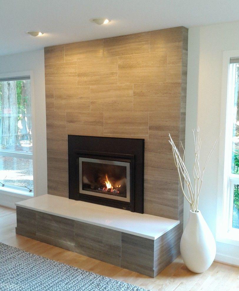 Modern Brick Fireplace; Porcelain Tile Clad Solid Surface Slab On