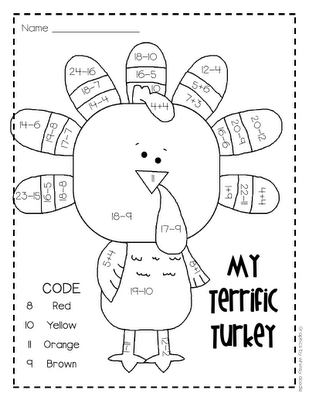 2-digit subtraction w/ regrouping on a super cute turkey