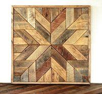 Reclaimed wood star quilt block wall art - 26 inch   Barn ...
