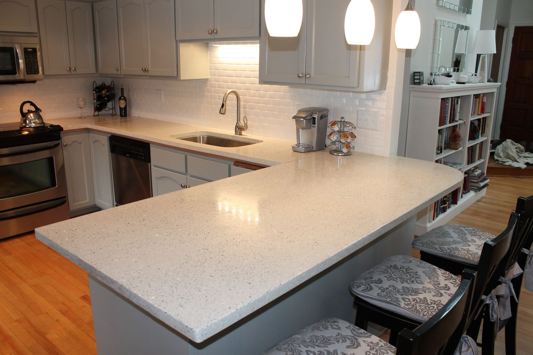 concrete kitchen countertops tall faucet handmade hand made