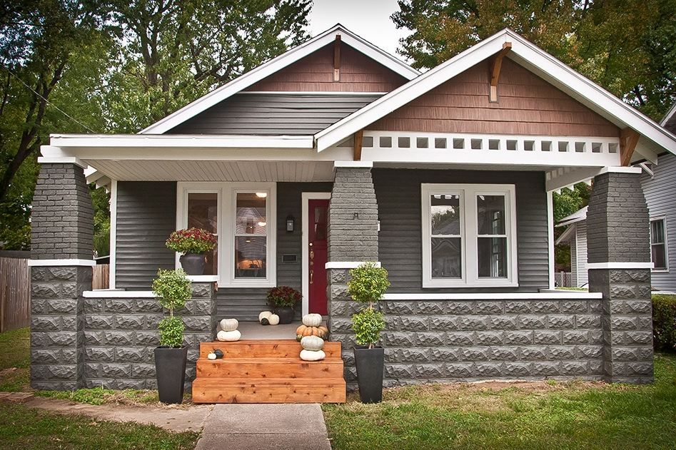 Green Craftsman Houses Tune Wallpaper Deep Red Brick Black Door