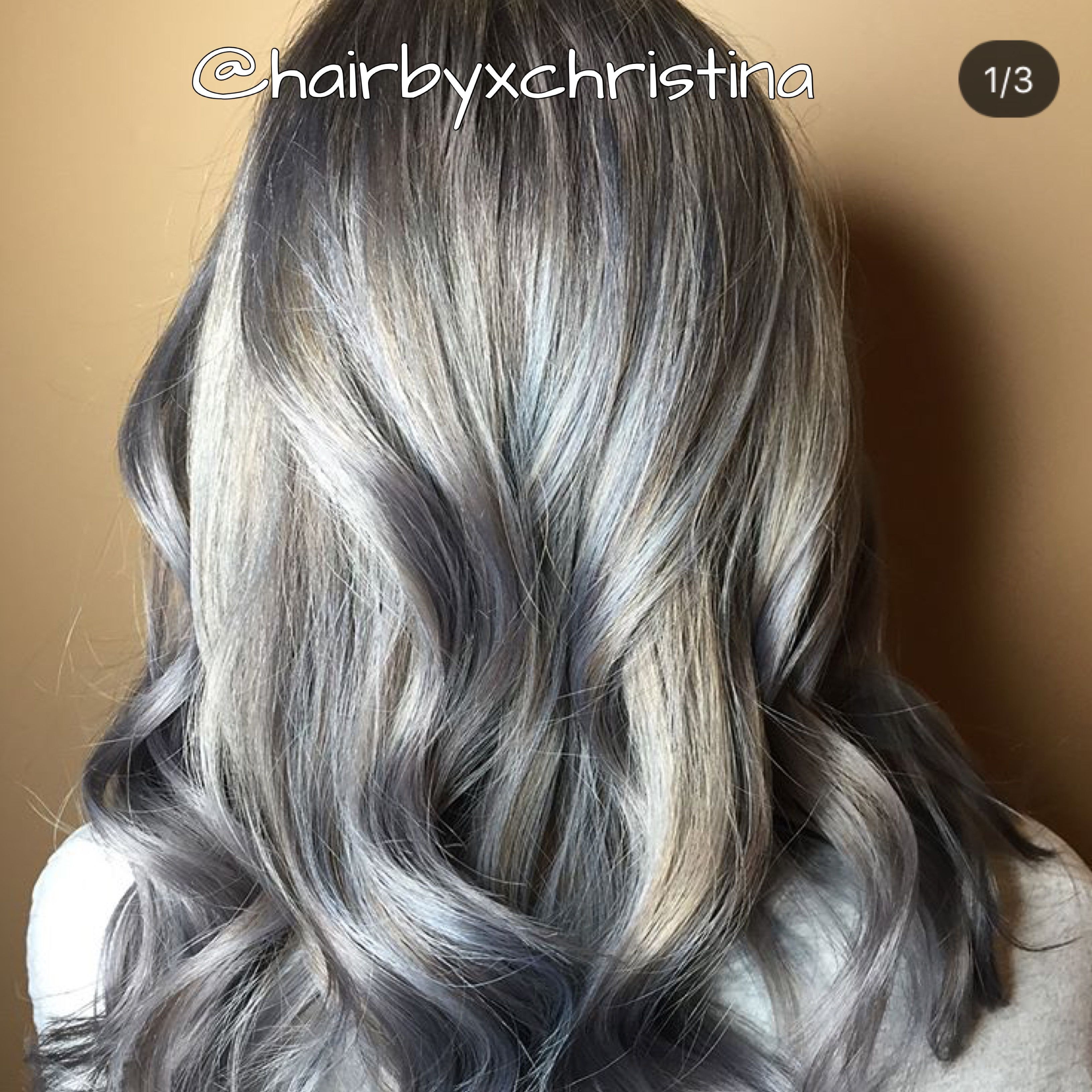 Icy blonde Metallic hair Icy gray silver hair ice blue
