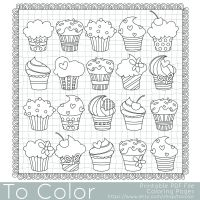 Cupcakes Coloring Page - this is a printable PDF coloring ...