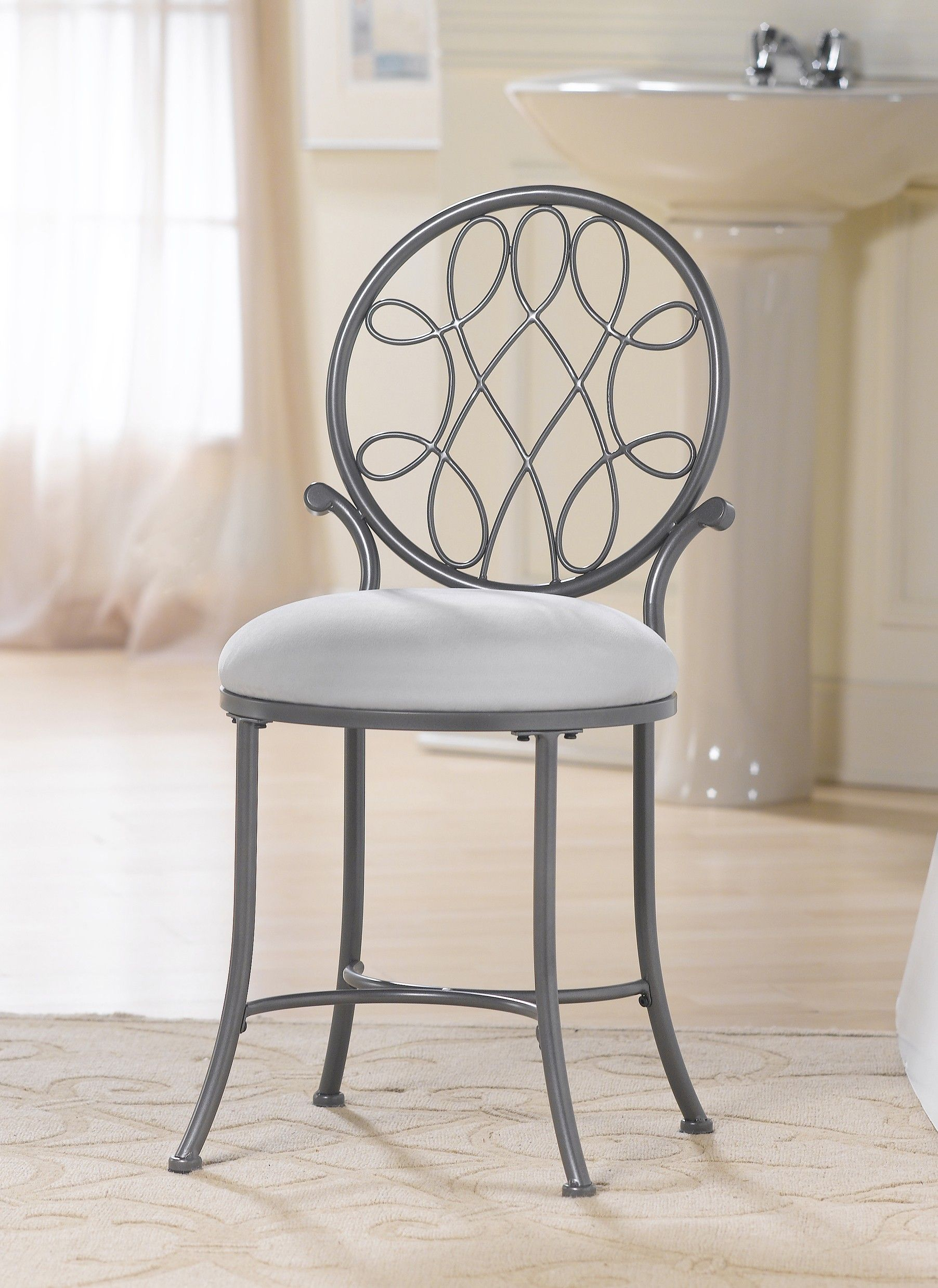 Bathroom Furniture Gray Polished Wrought Iron Vanity Chair