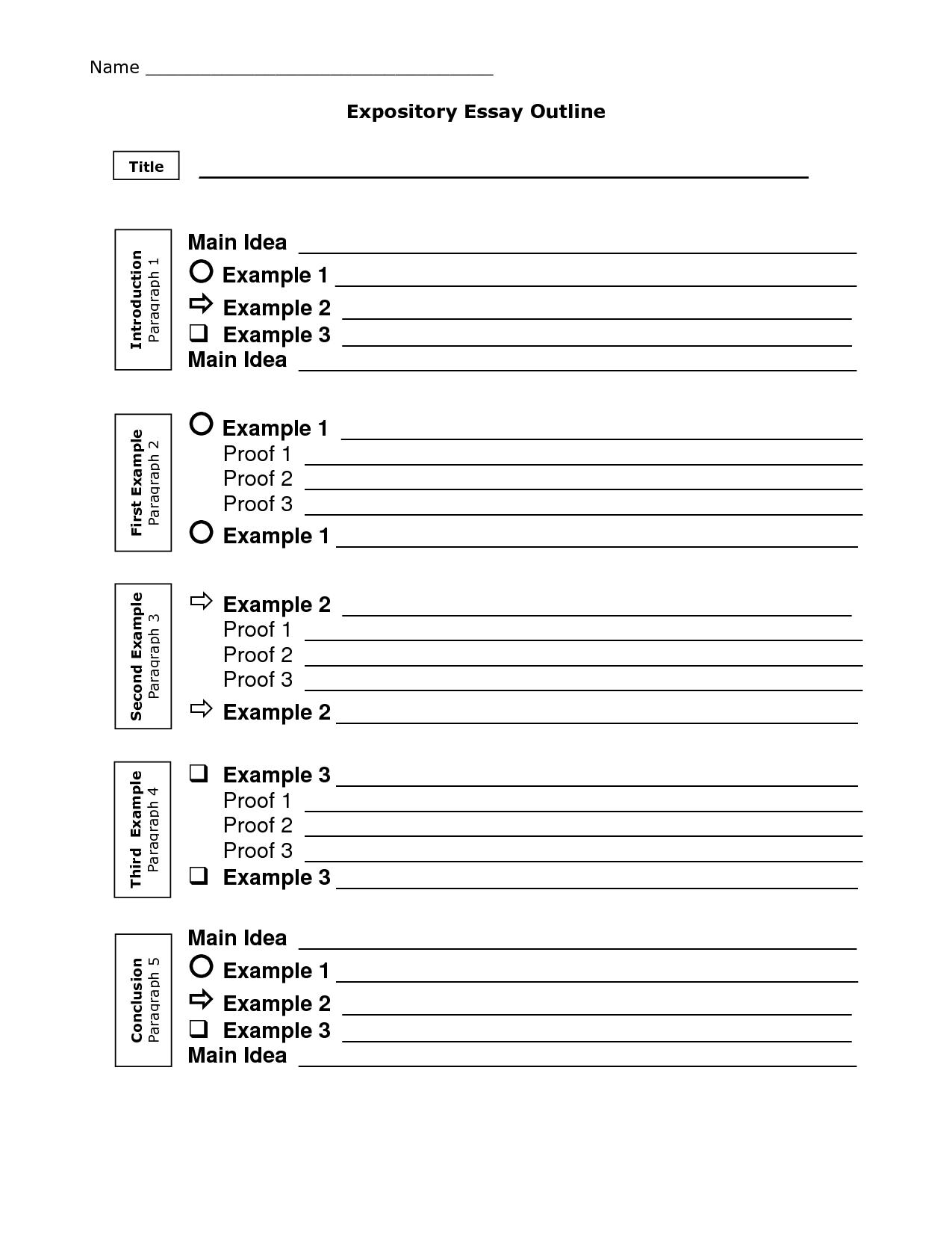 5 Paragraph Essay Outline Organizer