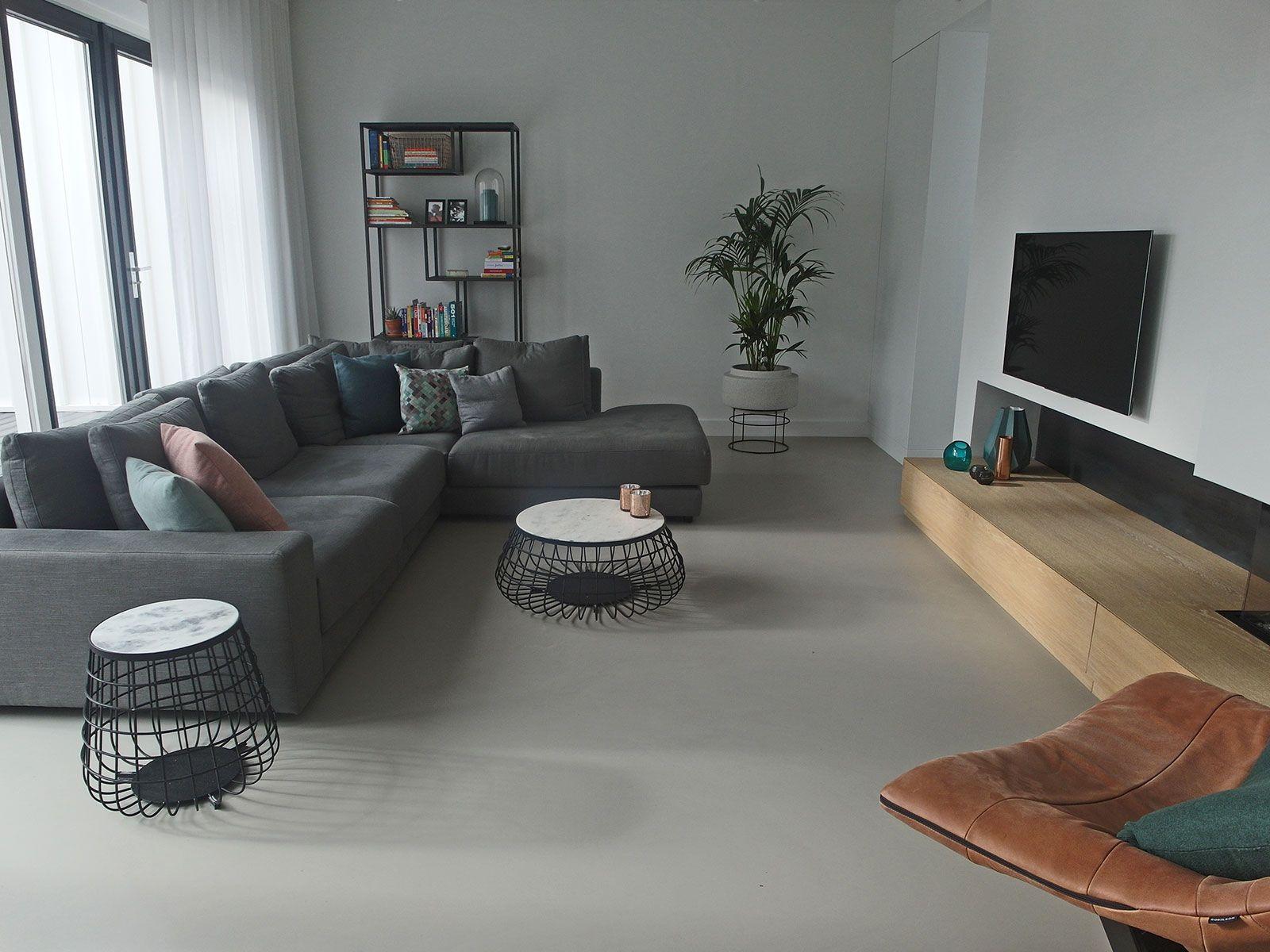 Gietvloer woonkamer Amsterdam vloeren Pinterest