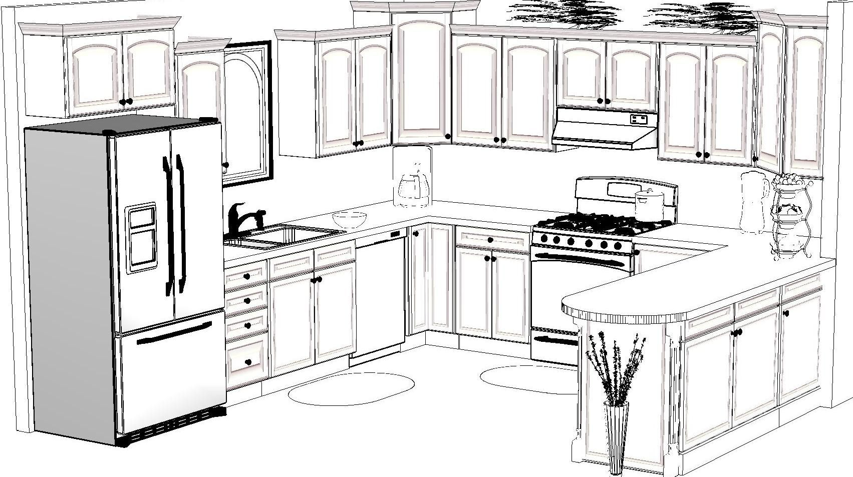 Kitchen Design Sketch Awesome