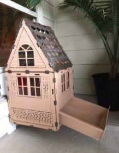 Kittykatflat secure outdoor cat house enclosure with litter box outside  door mounted also rh pinterest