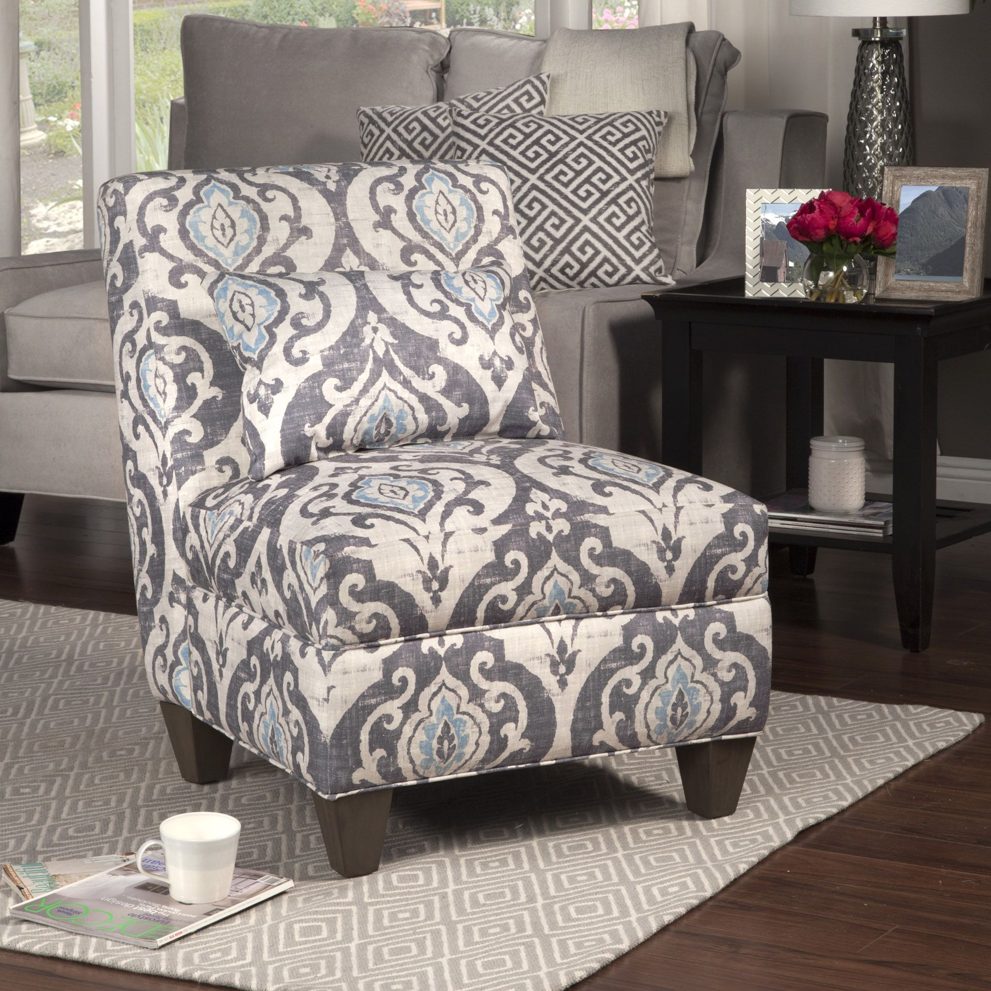 blue pattern accent chair high chairs at walmart slate large slipper decorative