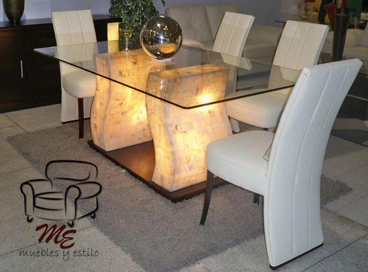 Base 100 madera y onix 6 sillas vinipiel blanco