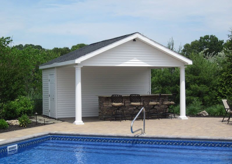 16' X 18' Pool House With Outdoor Bar Bathroom And Storage Room