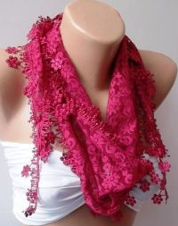 Pink lace and Elegance Shawl / Scarf - with Lace Edge ...