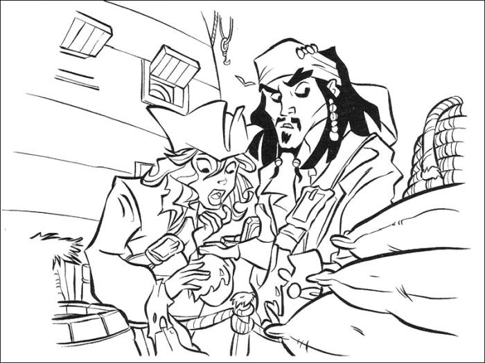 Printable Jack Sparrow And Elizabeth Swann Coloring Pages