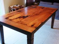 rustic maple harvest table with stain and matte epoxy ...