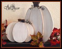 White Pumpkin, Thanksgiving decor, Wood Pumpkins Rustic ...
