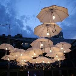 Outdoor Umbrella Lighting Wedding! Rain! And Umbrellas