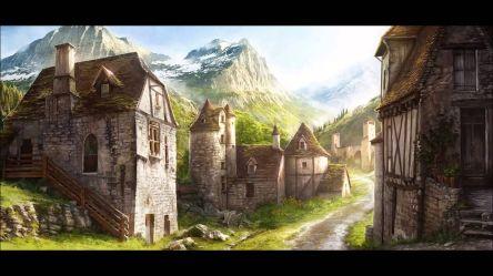 fantasy mountain keep medieval village concept town google towns streets landscape dark