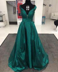 Emerald Green Satin Long Formal Evening Gowns Dresses 2016 ...