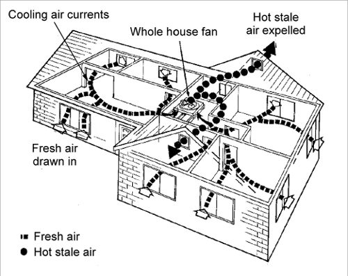 PASSIVE COOLING A cut-through diagram of a house shows air