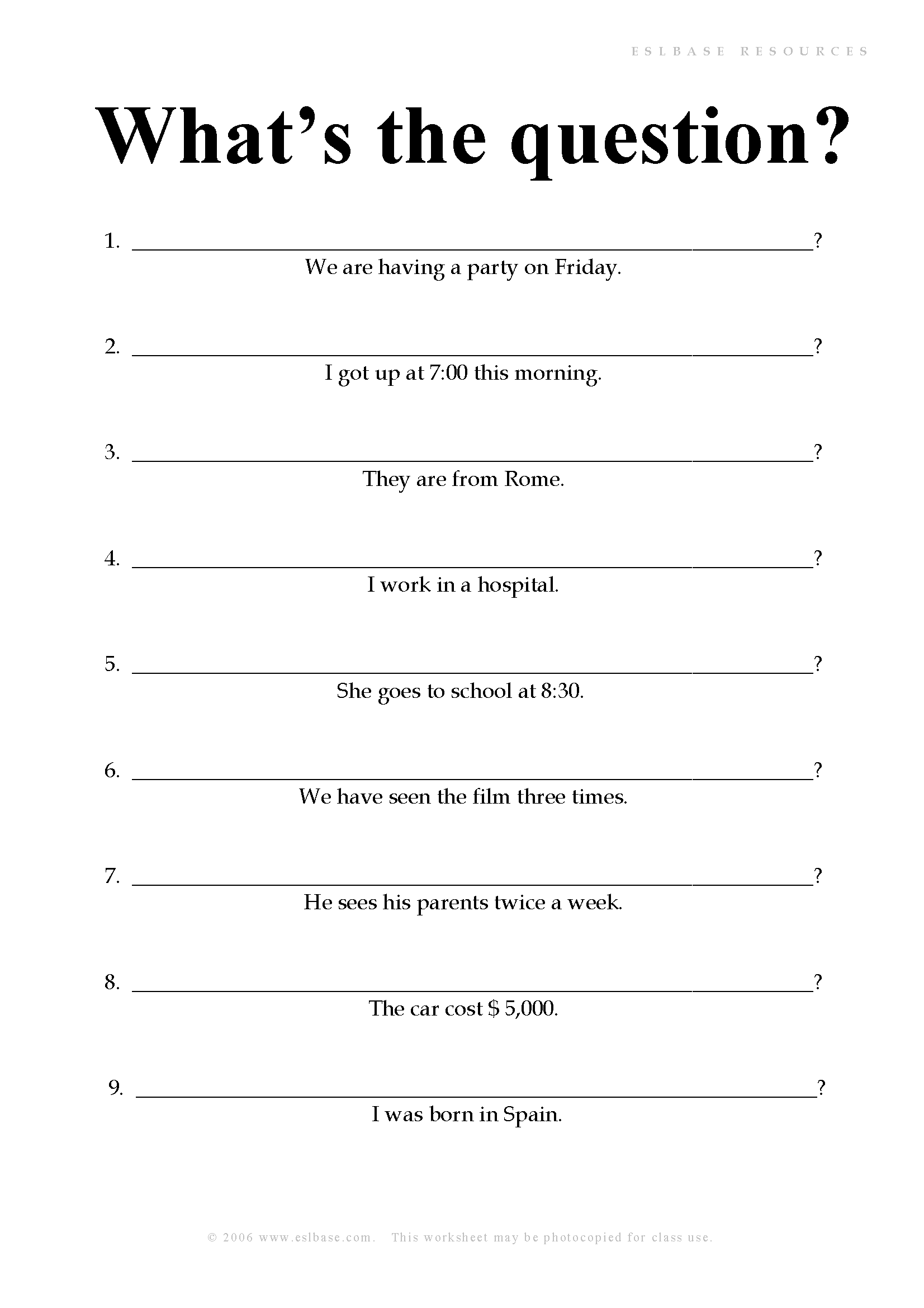 A Worksheet To Practise Forming Questions