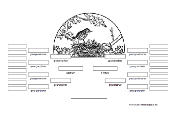 5 Generation Family Tree with Engraving Template