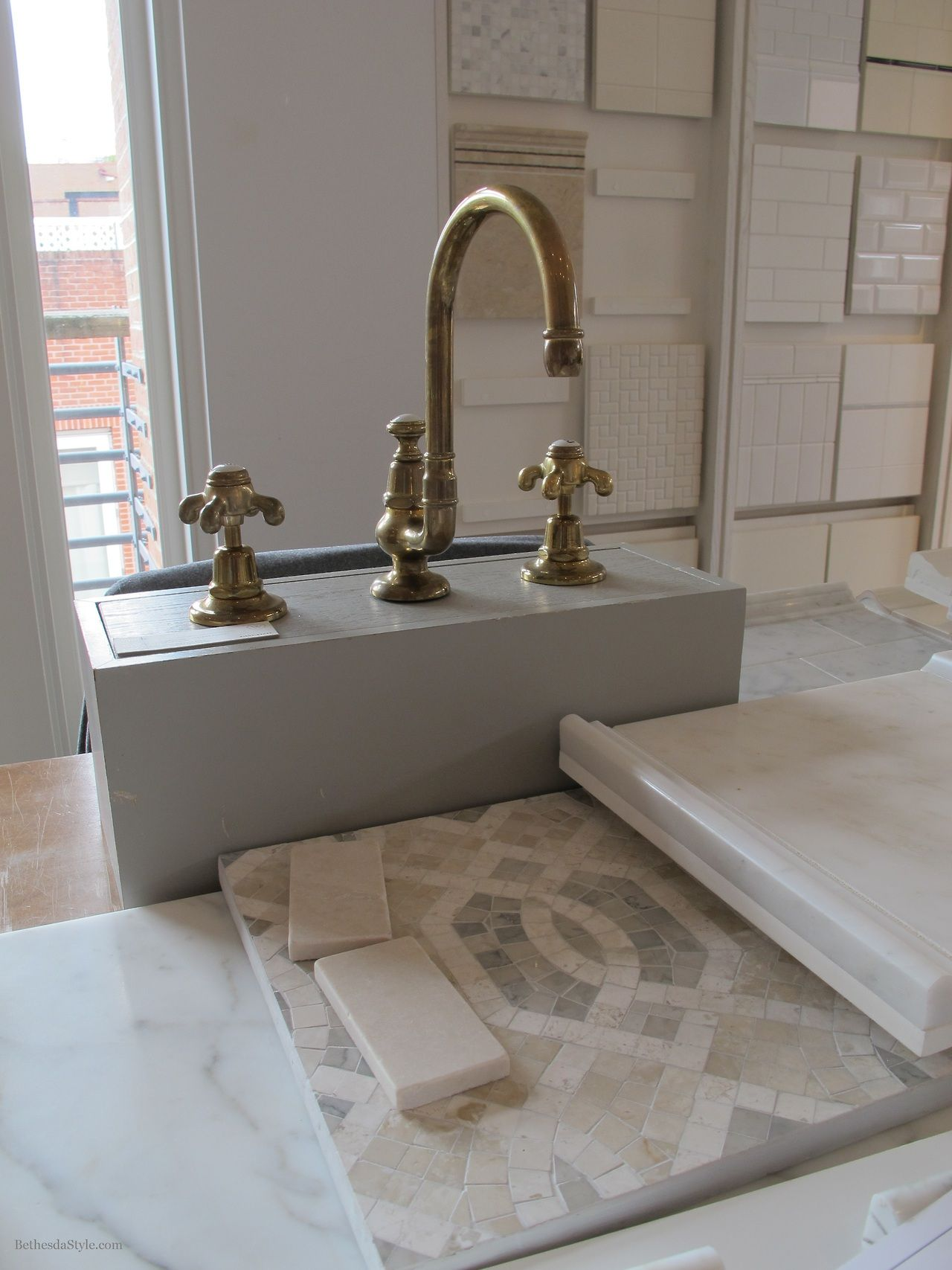 BethesdaStyle  Master Bath Tile  Unlacquered Brass