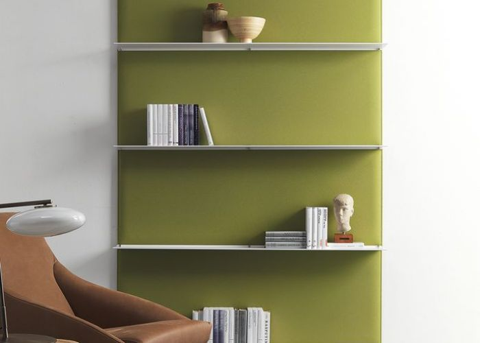Blade modular shelving system with sound absorbing panels also