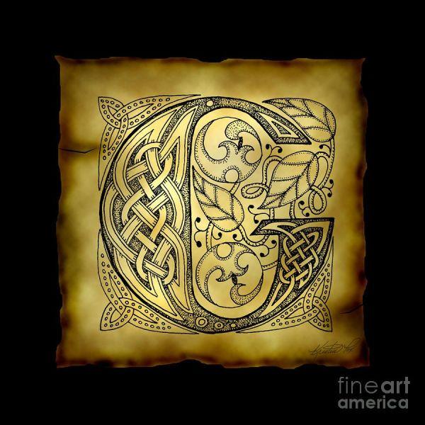 Celtic Letter Monogram Mixed Media Calligraphy