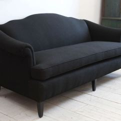 Vintage Camel Back Sofa Leather Warehouse Sydney Camelback Upholstered In Black Linen