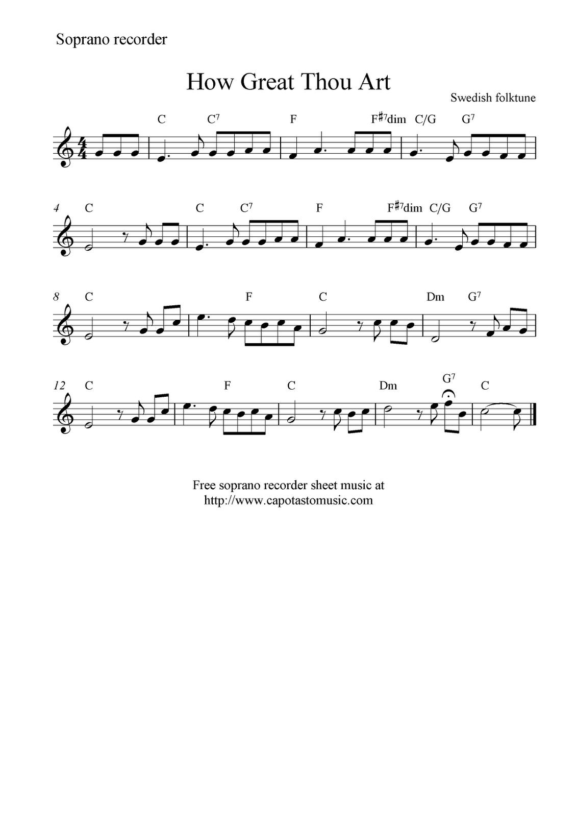 How Great Thou Art Free Soprano Recorder Sheet Music