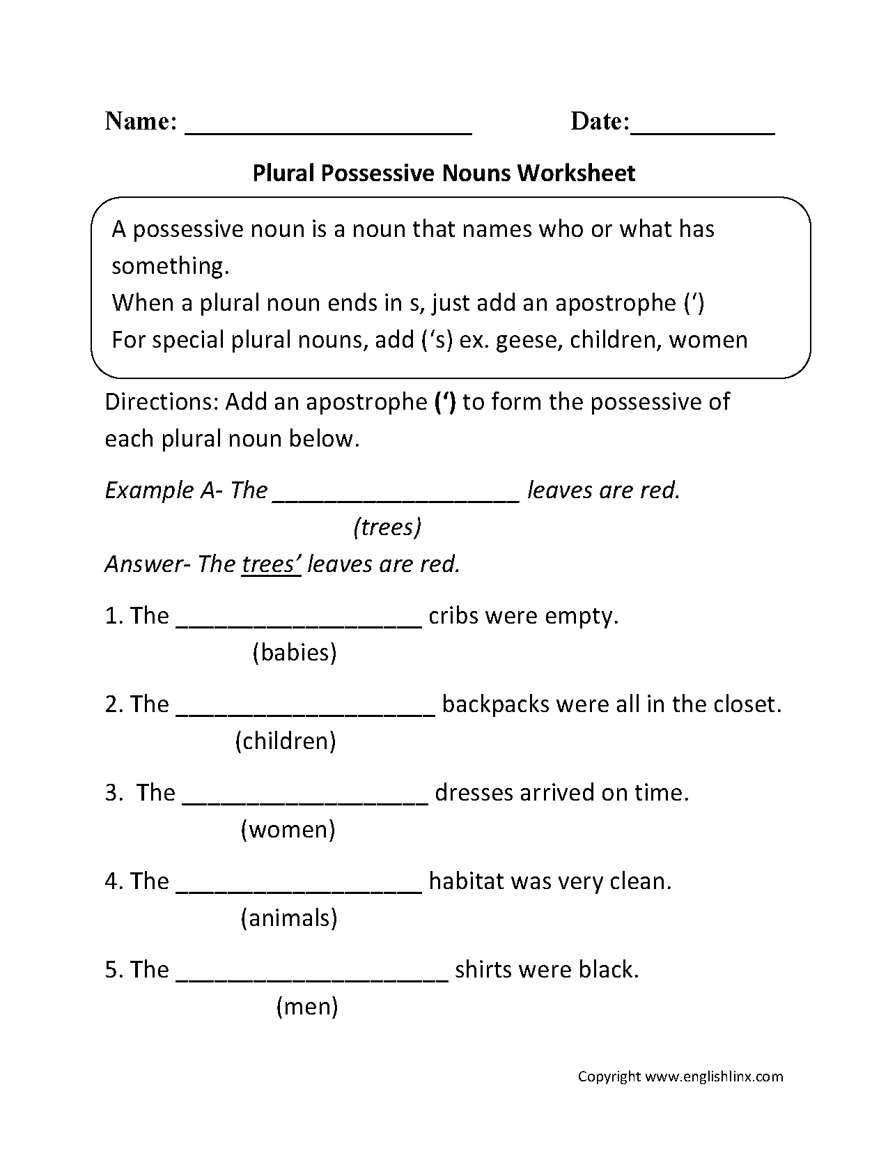 Plural Possessive Nouns Worksheets
