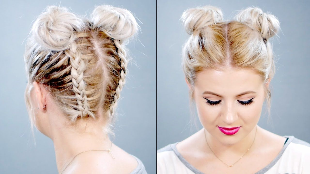 Double Braided Space Buns On Short Hair