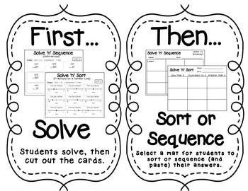 Solve 'n' Sequence Math Activities (3rd Grade