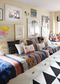 twin beds arranged as a couch to make the room more family