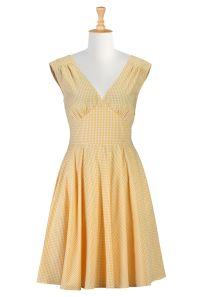 Pin-up cotton gingham dress | Fashion design, Gingham ...