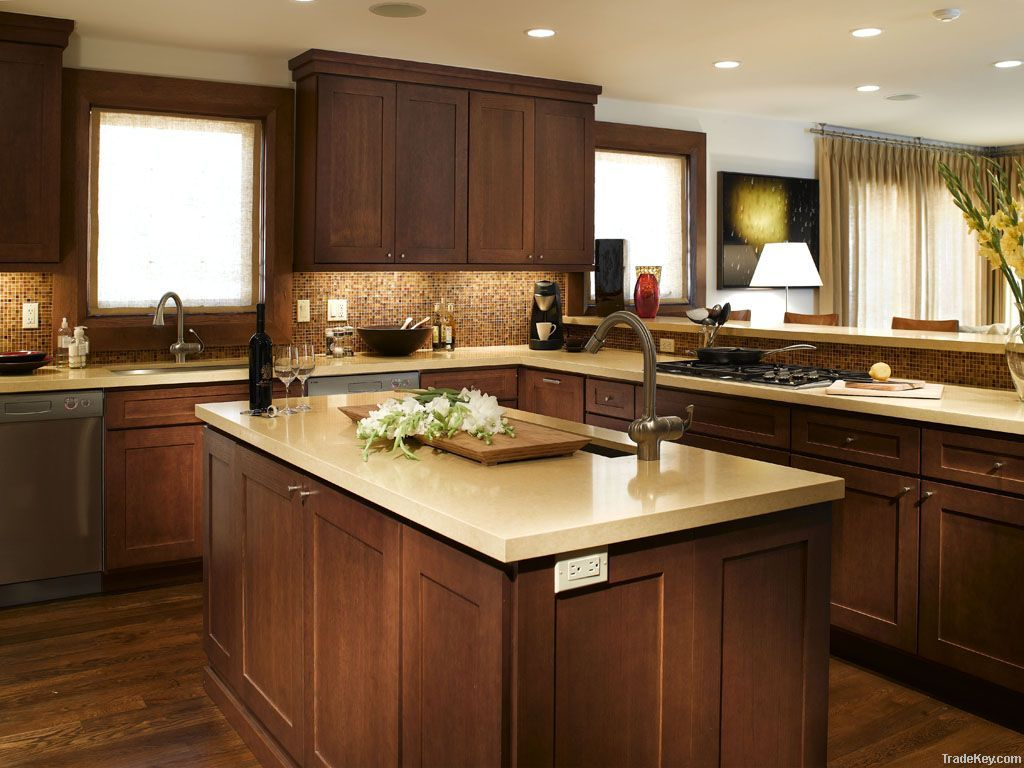 Elegant White Shaker Kitchen Cabinets With Dark Wood