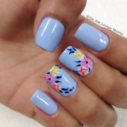 blue nail art design colorful