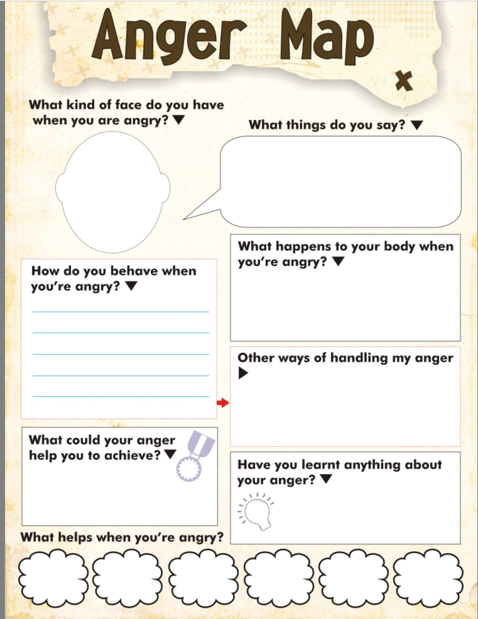 Anger Map Kids Worksheet Free Printable