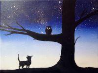 canvas wall art Original Tree Landscape Painting owl ...