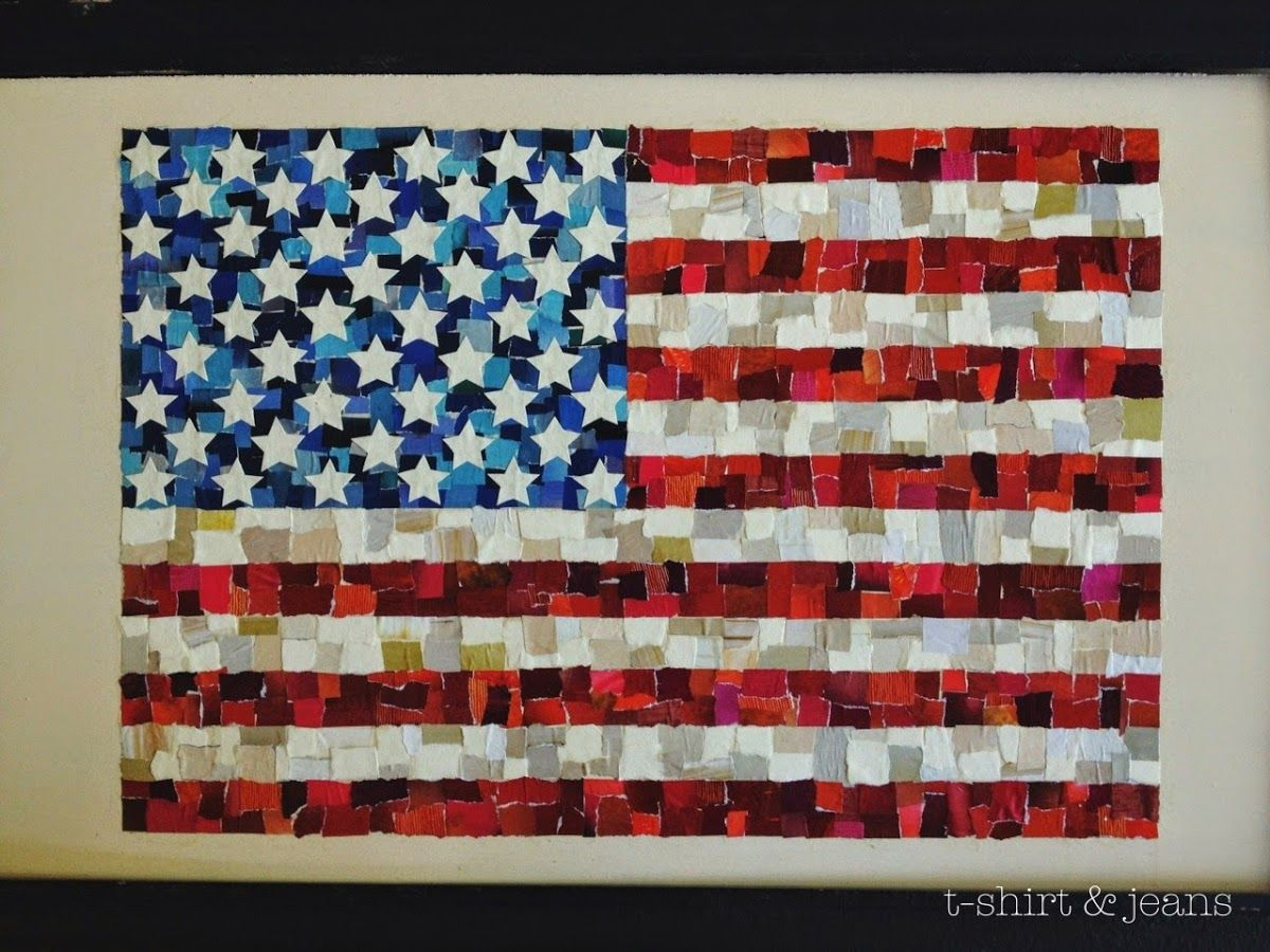 Diy Scrap Paper American Flag T Shirt Amp Jeans Mod Podge And Magazine Squares