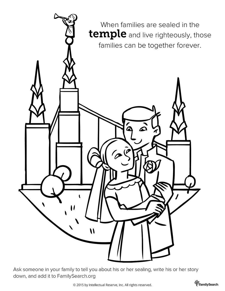 Coloring page for Primary class. Family at the Temple #LDS