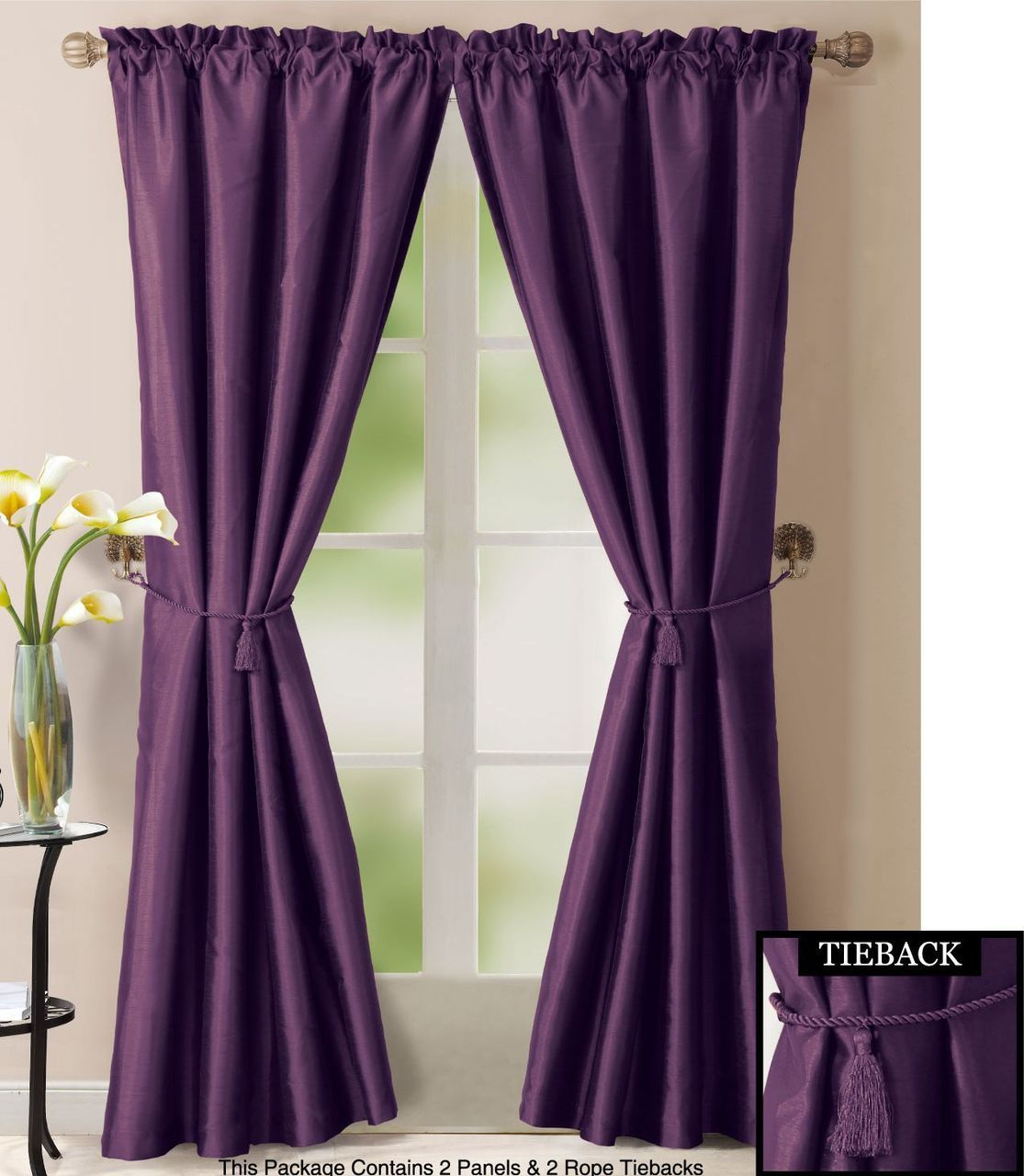 Bathroom And More Purple Window Treatment Set 2 Faux Silk