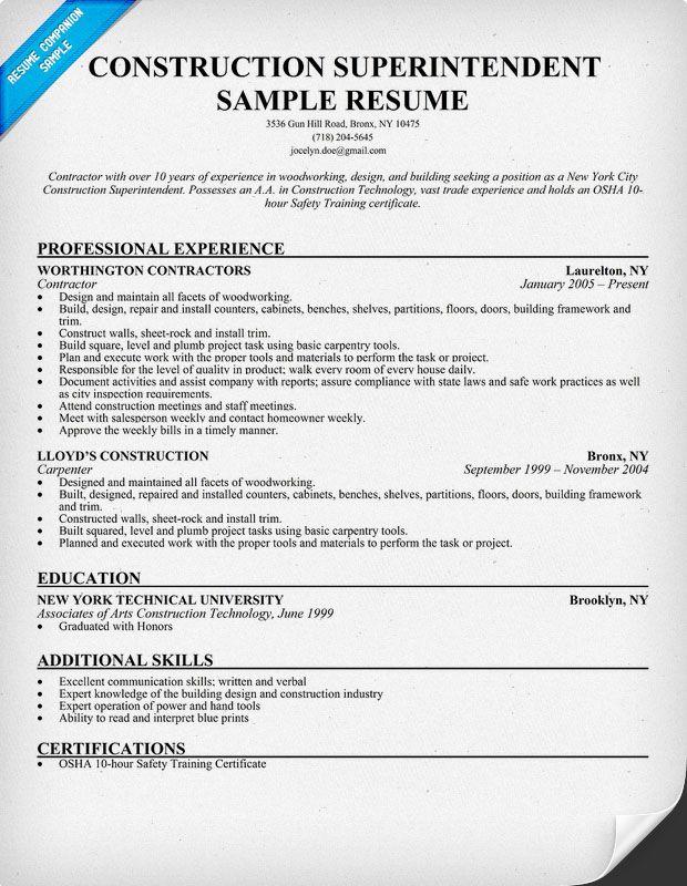 Construction Superintendent Resume Sample Resumecompanion Com