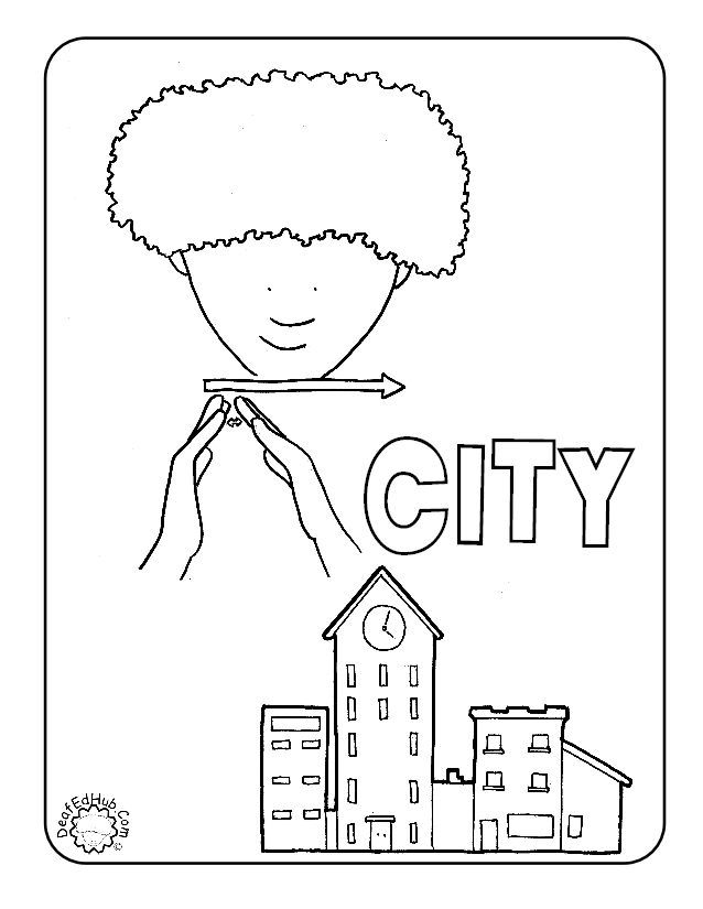 #ASL coloring page for the sign 'city' #DeafEdHub