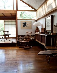 Interior draws on japanese zen and american shaker influences features filtered natural light live edged wood rocking chairs also george nakashima home inside pinterest rh