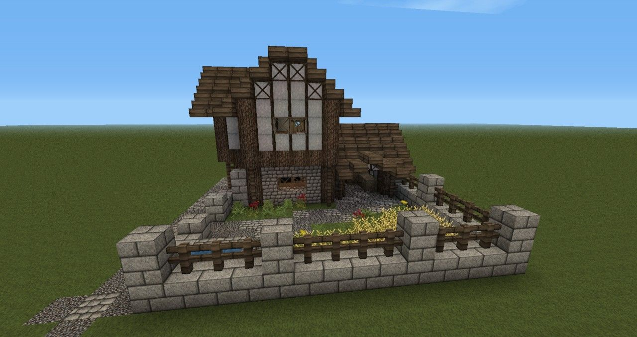 Minecraft Medieval Barn Front Of The House With Garden Farm And
