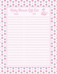 Baby Shower Gift List Set - Printable Download - Pink Gray ...